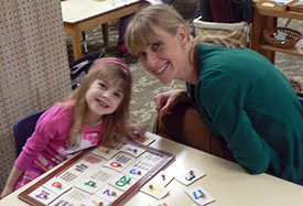 Parents' nights allow mom's and dad's the chance to share in the learning at Montessori Children's House, West Bend, WI